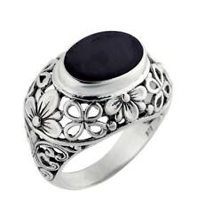 Artisan Crafted STERLING SILVER 925 Onyx Ring from Bali, Indonesia Size 6 $115