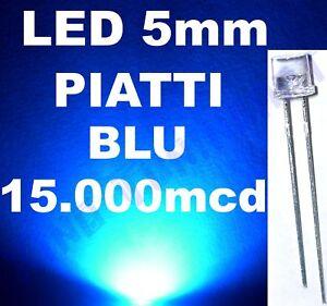 Nr 10 LED BLU BLUE 5mm PIATTI FLAT TOP 140° 12.000mcd