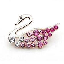 Luxury Gold Tone & Pink Rhinestones Swan Small Brooch Pin BR77