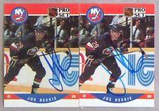 Joe Reekie New York Islanders 1990-91 Pro Set ProSet Signed Card Lot of 2