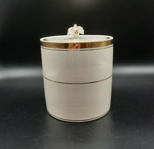 Vintage White Porcelain Biscuit Jar with Gold Accents