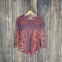 Lucky Brand Top XS Women's 3/4 Sleeve Multicolor Boho Geometric Casual