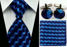 Blue Black Stripe Tie, Cufflinks & Hankerchief Set FREE P&P FROM THE UK