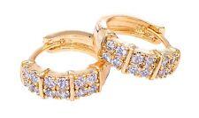 Oro Placcato EAR HUGGING hoop orecchino con grappoli di cristalli austriaci