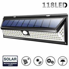 118 LED Solar Powered PIR Motion Sensor Wall Security Light Garden Lamp Outdoor