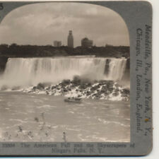 Maid of the Mist Sky Scrapers Niagara Falls NY Stereoview c1935