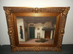 Large old oil painting,{ Indoors - fireplace, cross, cloths.., great frame! }