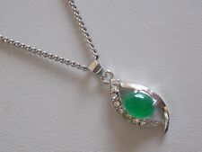Charming Effective Faux Emerald & CZ Pendant & Matching Chain