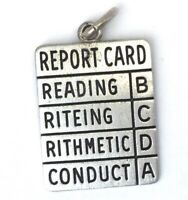 VINTAGE REPORT CARD CHARM WELLS STERLING SILVER NECKLACE PENDANT
