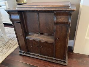 ANTIQUE 1913 Singer 66 Red Eye 21 Treadle Sewing Machine In Drawing Room Cabinet