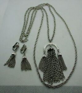 VTG Signed CROWN TRIFARI Double Strand Tassel Pendant Necklace & Earrings SET
