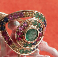Rubin Smaragd Saphir Ring 1.10 ct hipp 750er Rosegold FÜNF FARBEN