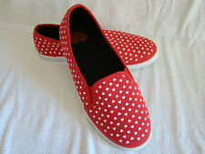 New Whimsical Canvas Slip on Sneaker Red w/ White Hearts Rubber Sole Shoe Sz 8