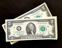 8 Billets 2 Dollars Américain. Envoi gratuit.