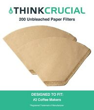 200 Replacements Unbleached Natural Brown Paper #2 Coffee Filters