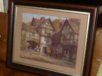 "FM BENNETT 1929 Framed Art Print ""THE MEET AT THE MANOR"" Hunting Horses & Dogs"