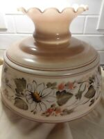 "GWTW LAMPSHADE  LARGE 11""H x 14""w(10"" FITTER )FLORAL MILK-GLASS HURRICANE"