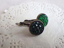 Ohrringe druzy smaragdgrün - Ohrhänger Brisur bohemian minimal style grün