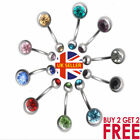 Surgical Steel  Belly Bar Navel Button Ring Double Crystal Body Piercing