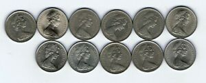 11 different 10p ten pence coins 1968-1971 1973-1977 1979-1980