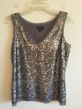 c1960b132b5c06 6175) NWOT TALBOTS size 2 pewter silver sequin pullover cami tank top blouse