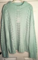 CLEARANCE Sz XXL NWT $50 LAUREN CONRAD SEAFOAM GREEN PULLOVER CABLE KNIT SWEATER