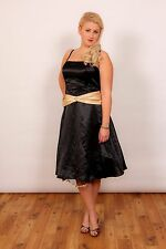 Black & gold satin prom dress bridesmaid dress by Juliet