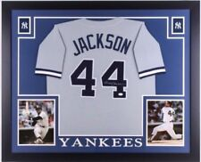 Reggie Jackson Signed New York Yankees 35x43 Custom Framed Jersey (JSA COA)