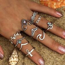 UK BOHO 10Pcs RING SET Bohemian Gypsy Ethnic Tribal Jewellery Gift Idea Silver