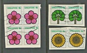 1975 - SINGAPORE FLOWERS / PLANTS - BLOCK OF FOUR + PAIR & TWO SINGLES USED