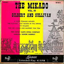 "Isidore Godfrey/D'Oyly Carte: Gilbert & Sullivan The Mikado Vol. III EP 7"" 45rpm"