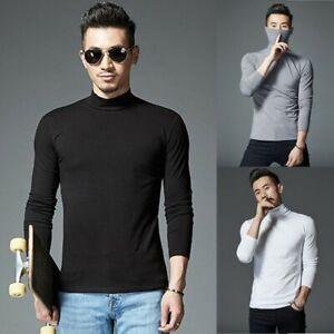 Mens Elastic T-shirt Turtleneck Long Sleeve Pullover High Neck Bottoming Tops