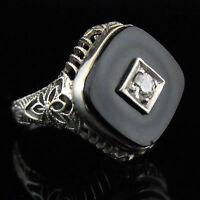 Antique Diamond Onyx Ring Old European Cut 14k White Gold Filigree Ring Art Deco