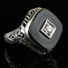 Antique Diamond Onyx Ring Old European Cut 14k White Gold Filigree Ring Art Deco