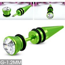 Edelstahl Piercing Fake Taper Expander G-1.2mm Ohr Zirkonia St.steel s-qpc350