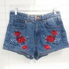 H&M x Coachella Women's Size 8 Floral Rose Embroidered High-Waisted Denim Shorts