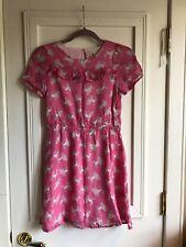 Mini Boden Girls Pink Poodle Dress Viscose Size 11-12Y