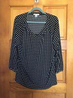 NWOT Liz Claiborne 3/4 length sleeve pullover top black white XL
