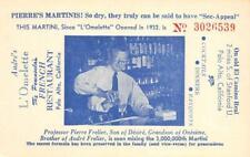 Andre's L'Omelette French Restaurant Palo Alto, CA Martinis c1940s Postcard