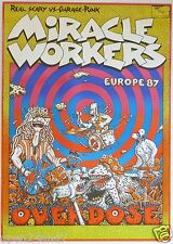 MIRACLE WORKERS EUROPE 1987 TOUR CONCERT POSTER-Real Scary Vs. Garage Punk Music