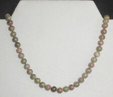"""NECKLACE - NEW - GREEN & PINK 6MM UNAKITE BEADS 20"""" - HAND KNOTTED"""