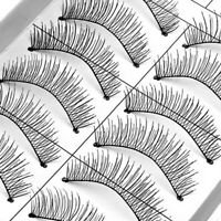 10 Pairs Natural Cross Handmade Eye Lashes Makeup Extension False Eyelashes