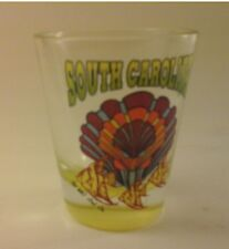 Vtg Shot Glass  - SOUTH CAROLINA - ANGEL FISH - Yellow Tint