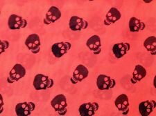 "Rare cute black skulls on coral polyester chiffon fabric, 59"" by 31""."