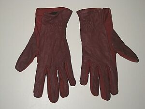 ARIS ISOTONER RED NYLON LEATHER LINED DRIVING GLOVES WOMEN'S SIZE MEDIUM LARGE