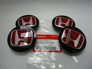 "Genuine Honda Type R Black Wheel Center Caps w/ Red ""H"" (Set of 4) 44732-TGH-A01"
