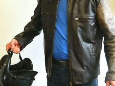 """LEATHER BIKER JACKET VICTOR TREHAN CLASSIC USED SIZE 40"""" CHEST ref 726"""