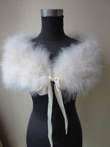 Women Real Ostrich Feather Fur Shrug Shawl Bride Wedding Party Ribbon Cape Beige