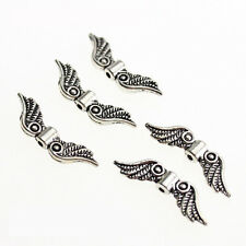 20Pcs Silver Tone Angel Fairy Wings Charm Spacer Beads For Jewelry Craft JIG