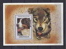 Art Head Postage Stamp BERNESE MOUNTAIN DOG WOLF Souvenir Sheet Grenada MNH